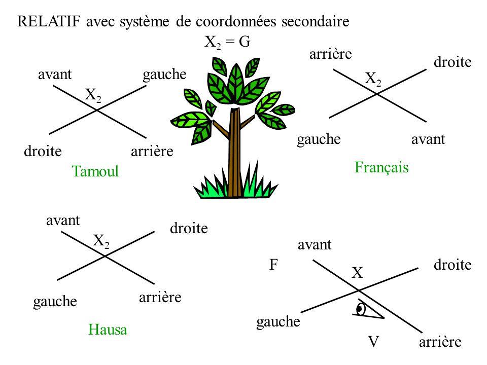 F RELATIF avec système de coordonnées secondaire V X gauche droite X 2 = G X2X2 Français droite gauche X2X2 arrière avant droite gauche X2X2 arrière a