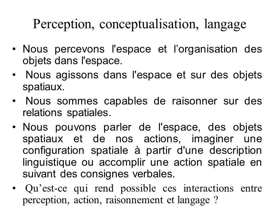 Thèses de Levinson Thèse perspectivale: Toute représentation de relations spatiales, quelle soit perceptive, conceptuelle, ou linguistique, mobilise un cadre de référence absolu, intrinsèque ou relatif.