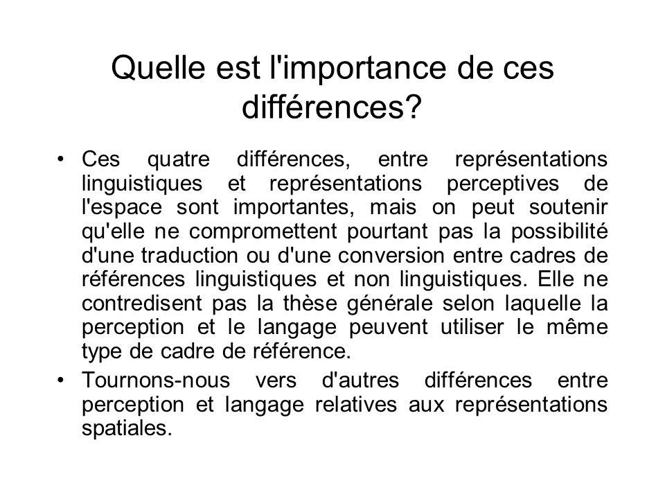 Quelle est l'importance de ces différences? Ces quatre différences, entre représentations linguistiques et représentations perceptives de l'espace son