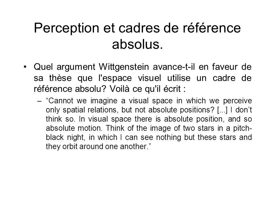 Perception et cadres de référence absolus. Quel argument Wittgenstein avance-t-il en faveur de sa thèse que l'espace visuel utilise un cadre de référe