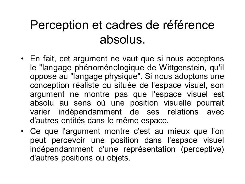 Perception et cadres de référence absolus. En fait, cet argument ne vaut que si nous acceptons le