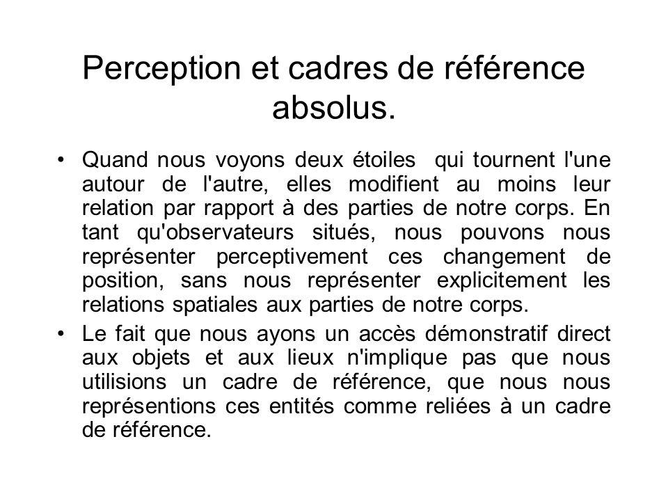 Perception et cadres de référence absolus. Quand nous voyons deux étoiles qui tournent l'une autour de l'autre, elles modifient au moins leur relation