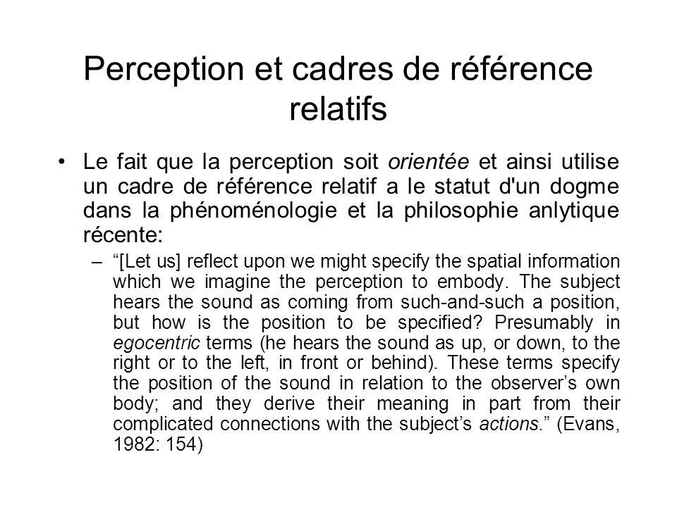 Perception et cadres de référence relatifs Le fait que la perception soit orientée et ainsi utilise un cadre de référence relatif a le statut d'un dog