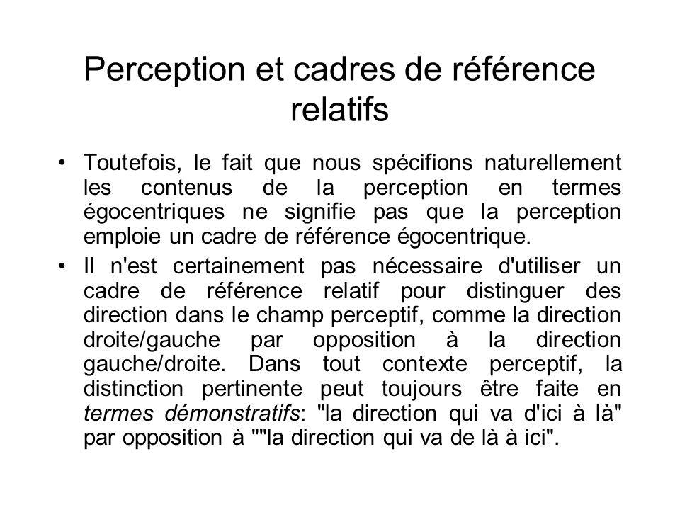 Perception et cadres de référence relatifs Toutefois, le fait que nous spécifions naturellement les contenus de la perception en termes égocentriques