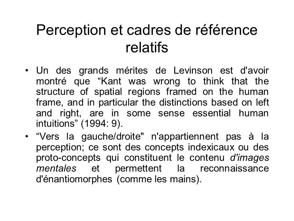 Perception et cadres de référence relatifs Un des grands mérites de Levinson est d'avoir montré que Kant was wrong to think that the structure of spat