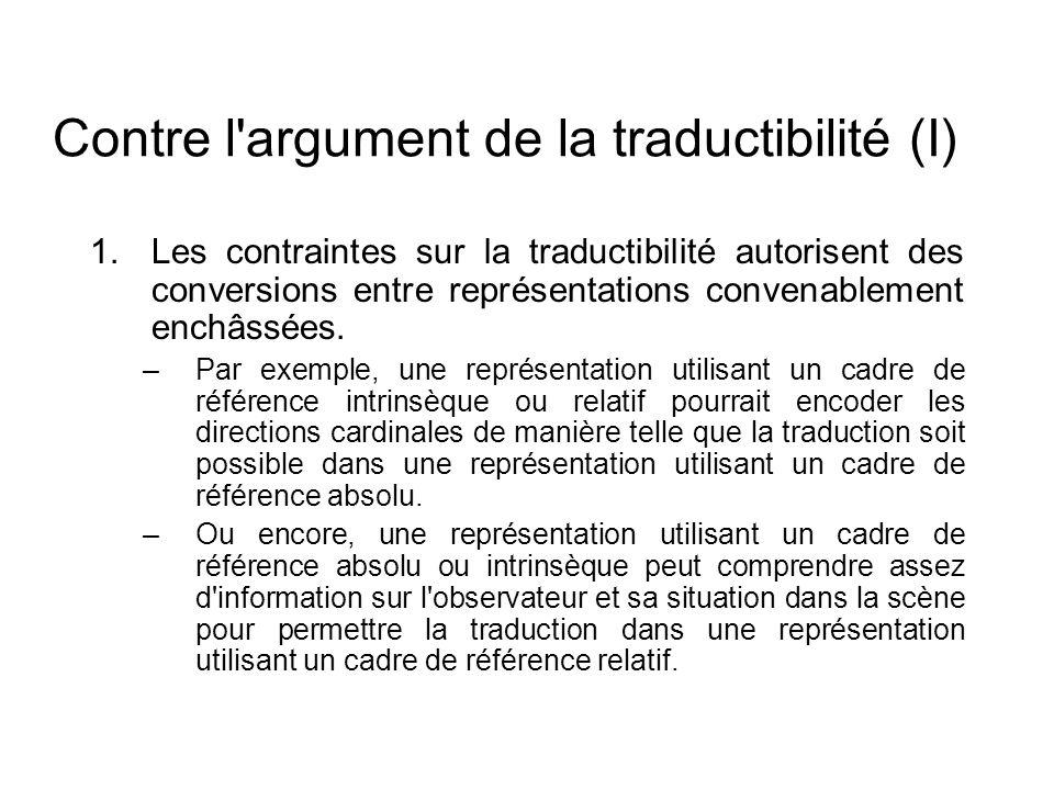 Contre l'argument de la traductibilité (I) 1.Les contraintes sur la traductibilité autorisent des conversions entre représentations convenablement enc