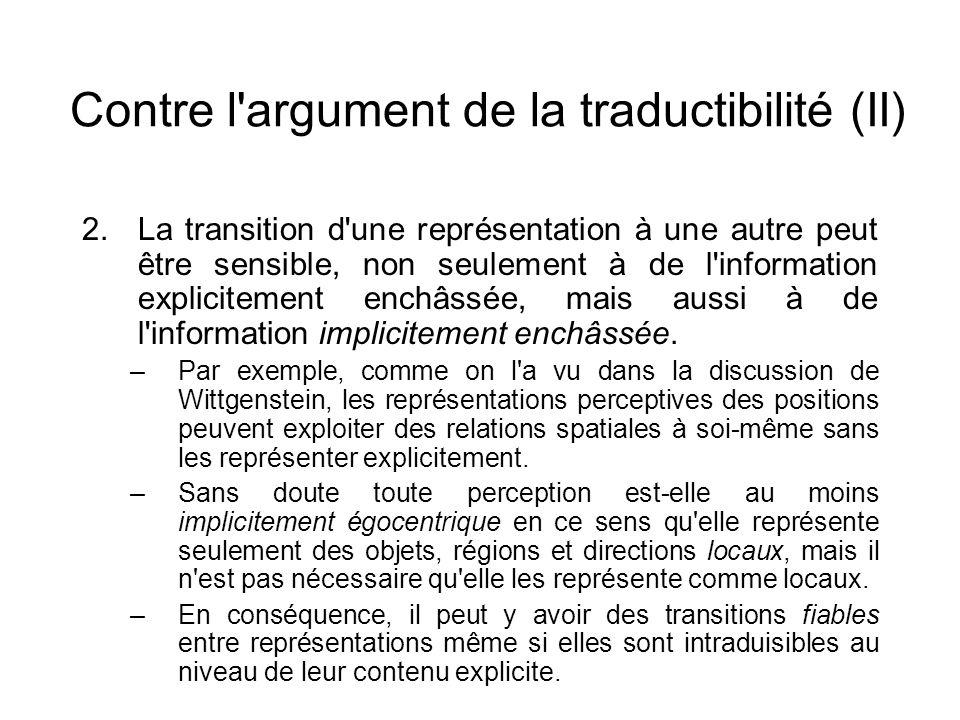 Contre l'argument de la traductibilité (II) 2.La transition d'une représentation à une autre peut être sensible, non seulement à de l'information expl