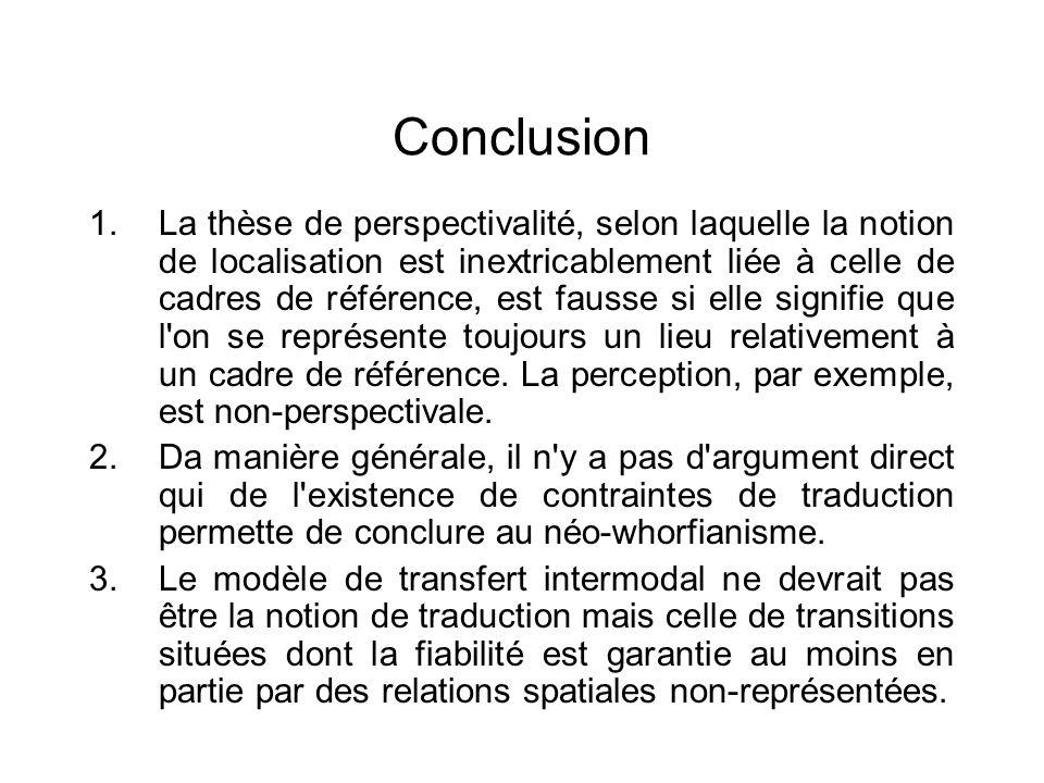 Conclusion 1.La thèse de perspectivalité, selon laquelle la notion de localisation est inextricablement liée à celle de cadres de référence, est fauss