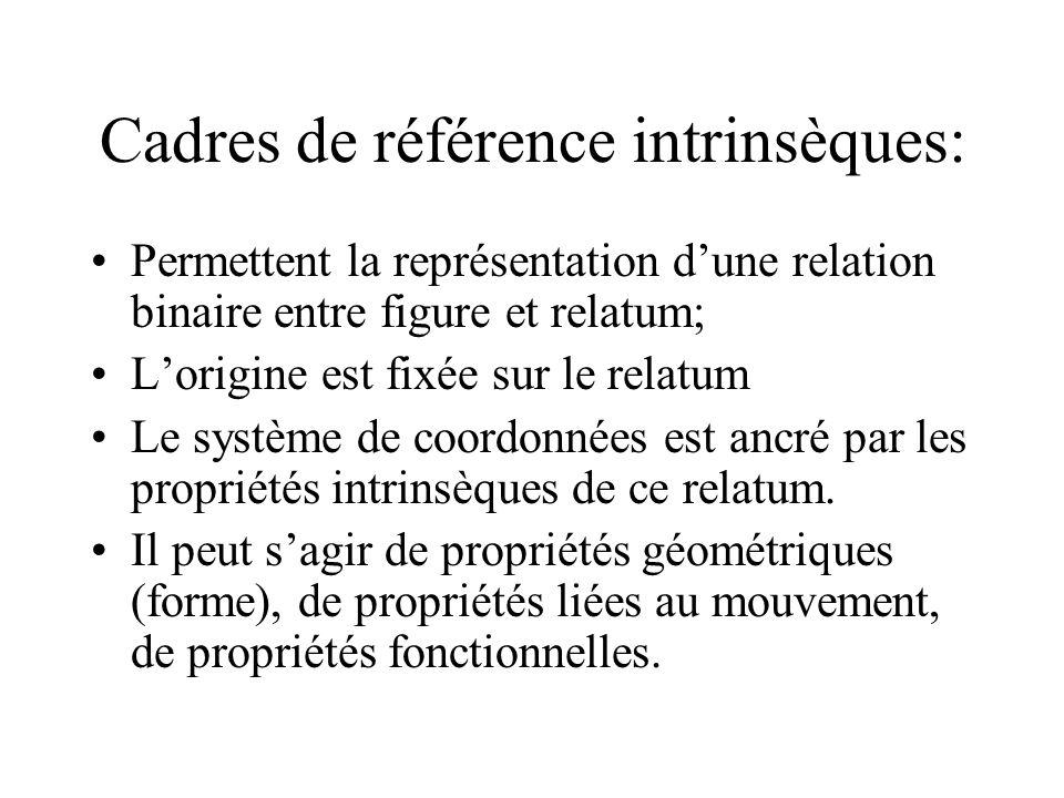 Cadres de référence intrinsèques: Permettent la représentation dune relation binaire entre figure et relatum; Lorigine est fixée sur le relatum Le sys