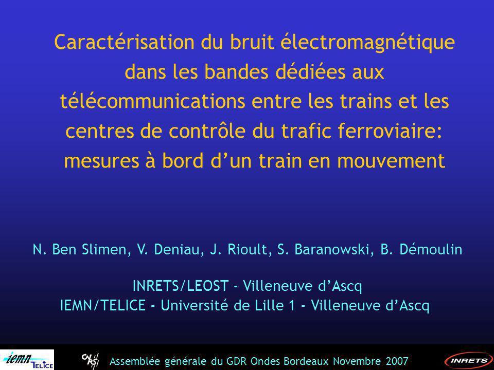 Assemblée générale du GDR Ondes Bordeaux Novembre 2007 300 MHz1 GHz 501 points (définis par l analyseur de spectre employé) Resolution bandwidth (RBW) = 1 MHz,100kHz Sweep time (ST) = 20 ms, 50 ms fonction Maxhold activée durant 10 minutes Méthode dans le domaine fréquentiel FRBW = 1MHz FRBW = 100 kHz 1 acq à faible vitesse Mesures fréquentielles Analyseur de spectre analyseur de spectre