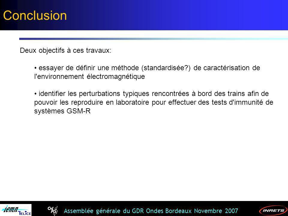 Assemblée générale du GDR Ondes Bordeaux Novembre 2007 Deux objectifs à ces travaux: essayer de définir une méthode (standardisée?) de caractérisation