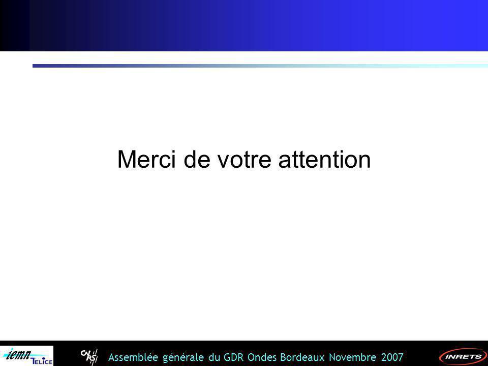 Assemblée générale du GDR Ondes Bordeaux Novembre 2007 Merci de votre attention
