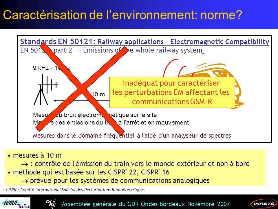 Assemblée générale du GDR Ondes Bordeaux Novembre 2007 Standards EN 50121: Railway applications – Electromagnetic Compatibility EN 50121- part 2 Emiss