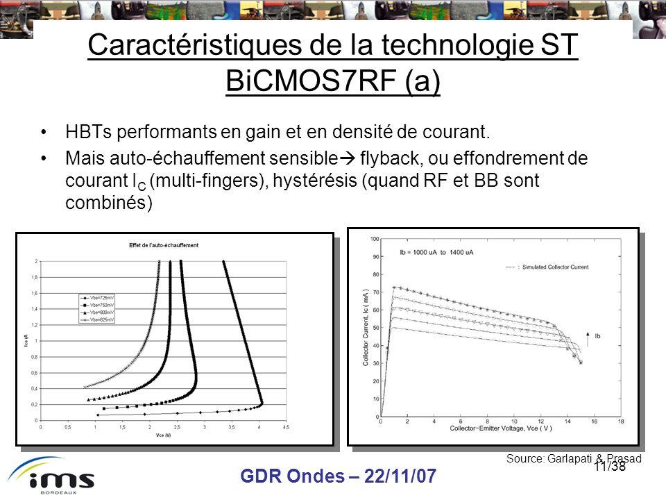 GDR Ondes – 22/11/07 11/38 Caractéristiques de la technologie ST BiCMOS7RF (a) HBTs performants en gain et en densité de courant. Mais auto-échauffeme