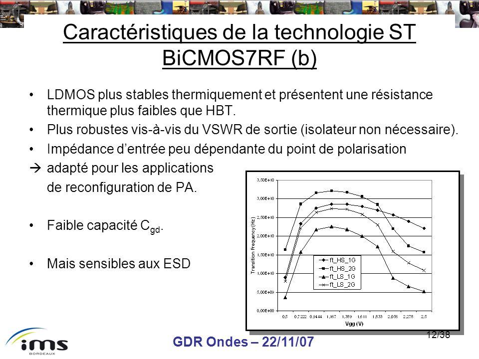 GDR Ondes – 22/11/07 12/38 Caractéristiques de la technologie ST BiCMOS7RF (b) LDMOS plus stables thermiquement et présentent une résistance thermique