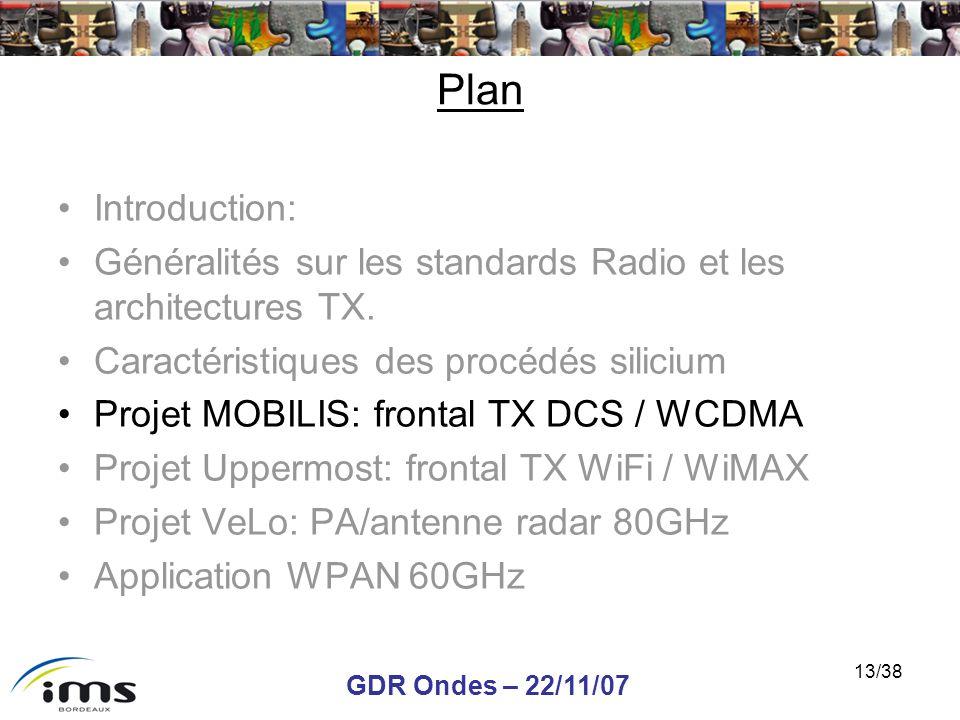 GDR Ondes – 22/11/07 13/38 Plan Introduction: Généralités sur les standards Radio et les architectures TX. Caractéristiques des procédés silicium Proj