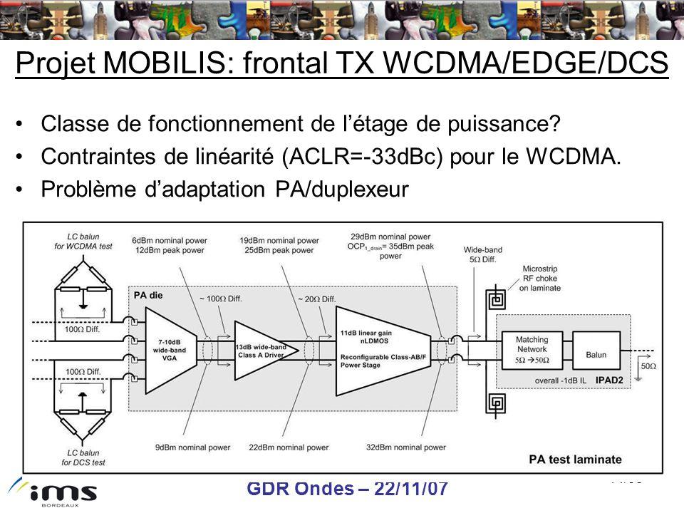 GDR Ondes – 22/11/07 14/38 Projet MOBILIS: frontal TX WCDMA/EDGE/DCS Classe de fonctionnement de létage de puissance? Contraintes de linéarité (ACLR=-