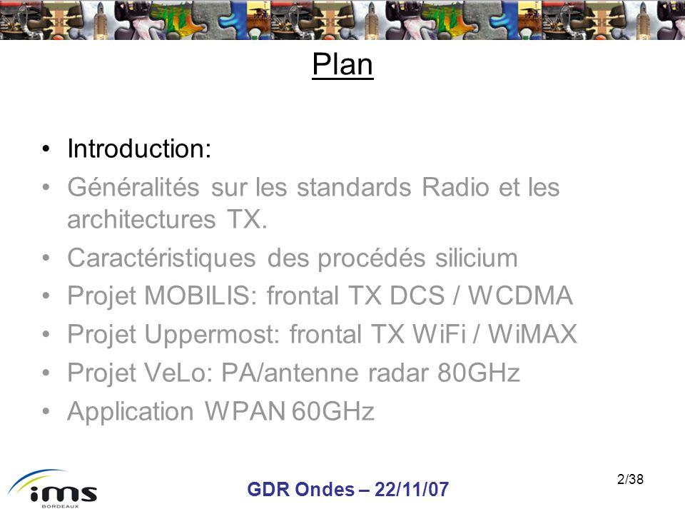 GDR Ondes – 22/11/07 2/38 Plan Introduction: Généralités sur les standards Radio et les architectures TX. Caractéristiques des procédés silicium Proje