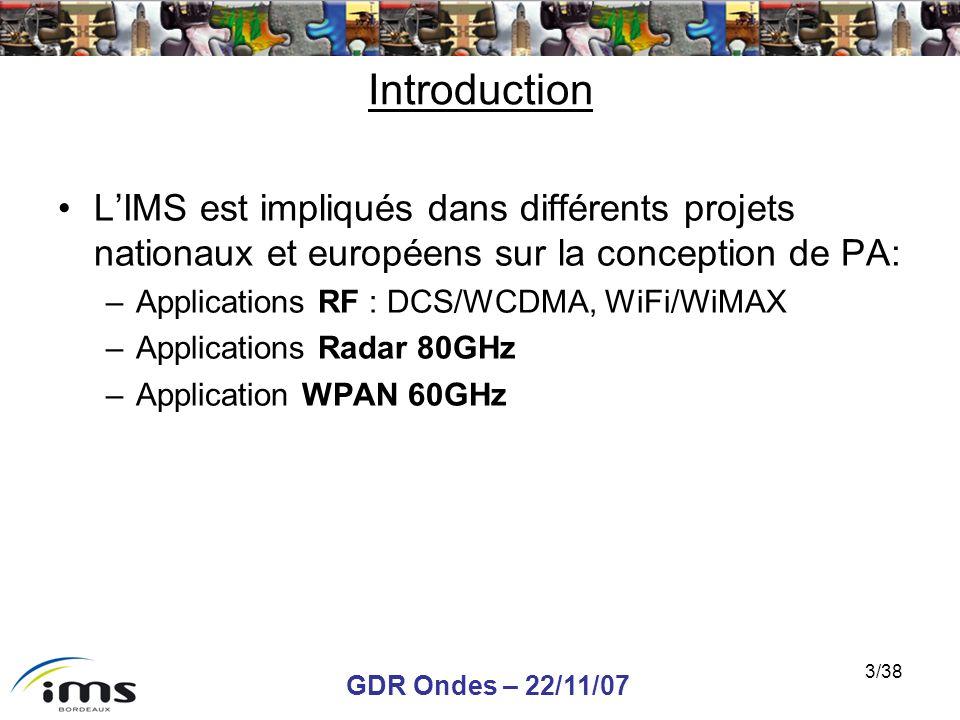 GDR Ondes – 22/11/07 3/38 Introduction LIMS est impliqués dans différents projets nationaux et européens sur la conception de PA: –Applications RF : D