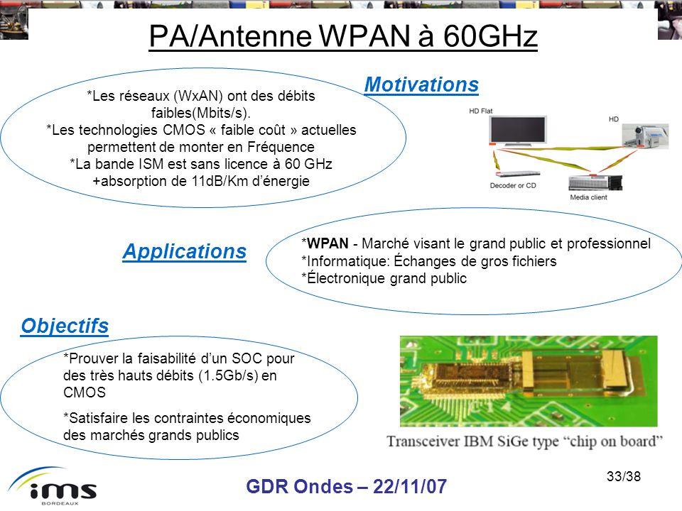 GDR Ondes – 22/11/07 33/38 *Les réseaux (WxAN) ont des débits faibles(Mbits/s). *Les technologies CMOS « faible coût » actuelles permettent de monter