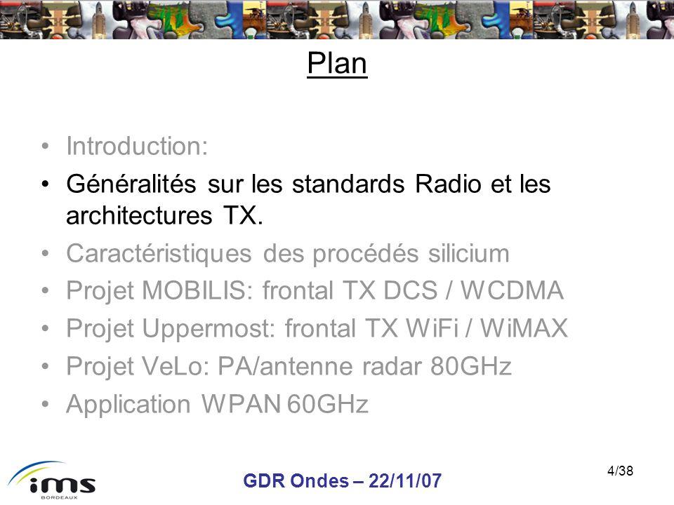 GDR Ondes – 22/11/07 4/38 Plan Introduction: Généralités sur les standards Radio et les architectures TX. Caractéristiques des procédés silicium Proje