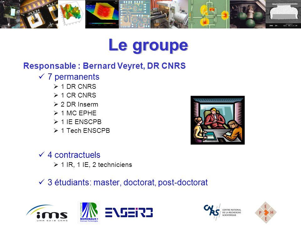 Responsable : Bernard Veyret, DR CNRS 7 permanents 1 DR CNRS 1 CR CNRS 2 DR Inserm 1 MC EPHE 1 IE ENSCPB 1 Tech ENSCPB 4 contractuels 1 IR, 1 IE, 2 te