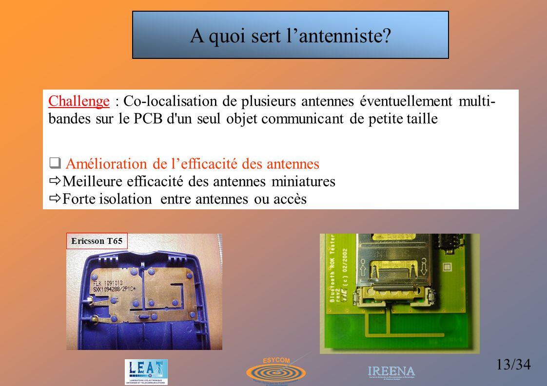 13/34 Challenge : Co-localisation de plusieurs antennes éventuellement multi- bandes sur le PCB d'un seul objet communicant de petite taille Améliorat