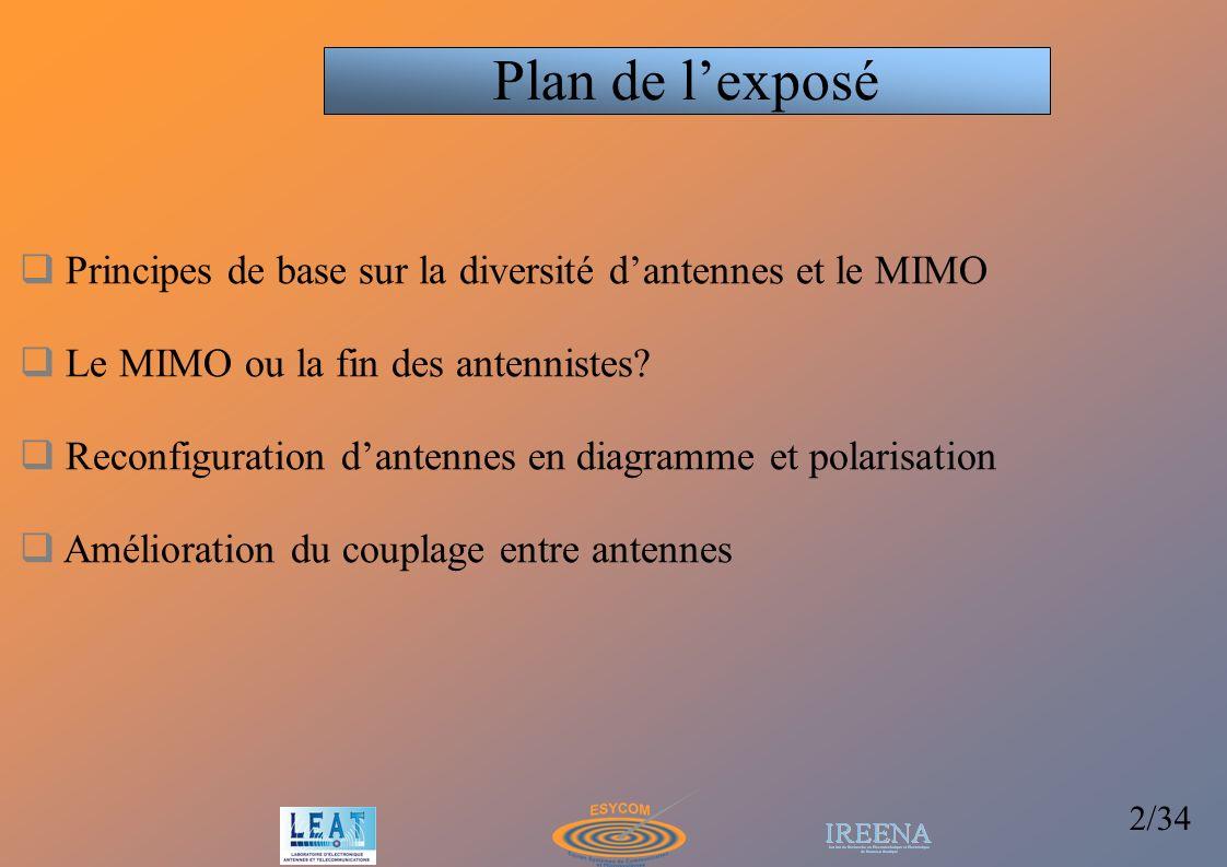 33/34 Evaluation des performances MIMO du système à 2 antennes en chambre réverbérante SNR=10dB Capacité augmente de 8.3 à 9.1bits/s/Hz (de 12 à 13 pour 4 éléments)