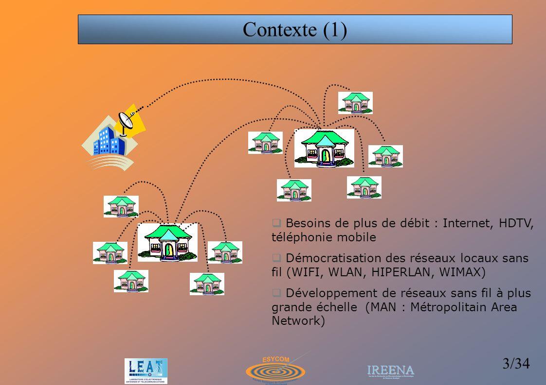 4/34 Communications urbaines ou indoor Trajets multiples Les systèmes MIMO augmentent le débit des communications en tirant profit de des multi-trajets sans nécessiter plus de bande passante Contexte (2) MIMO (Multiple Input Multiple Output) : utilisation de plusieurs antennes à lémission et à la réception afin de créer de la diversité