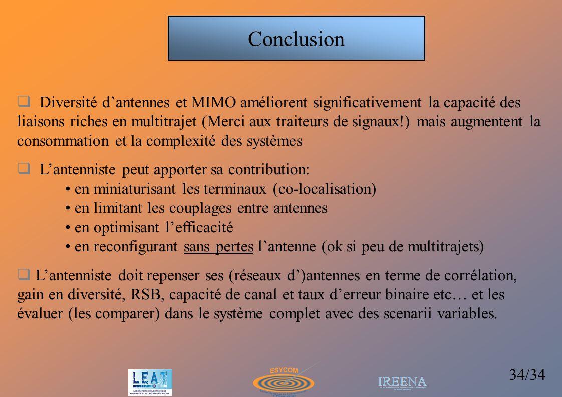 34/34 Conclusion Diversité dantennes et MIMO améliorent significativement la capacité des liaisons riches en multitrajet (Merci aux traiteurs de signa