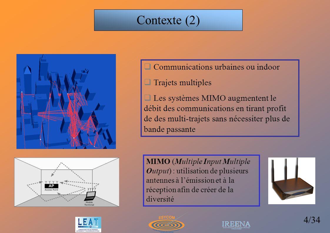 35/34 WIFIMAX et WIFI 802.11.G capacité annoncée 11 Mbits/s à 50m 802.11.N MIMO+OFDM 100 Mbits/s à 90 m (3 x3 antennes) BP réel << BP annoncée Futur du MIMO: virtual antenna arrays + UWB WIMAX 802.16: transmission utilise le beamforming, quelques kms de portée Technologies wideband: égalisation, OFDM, DS-CDMA