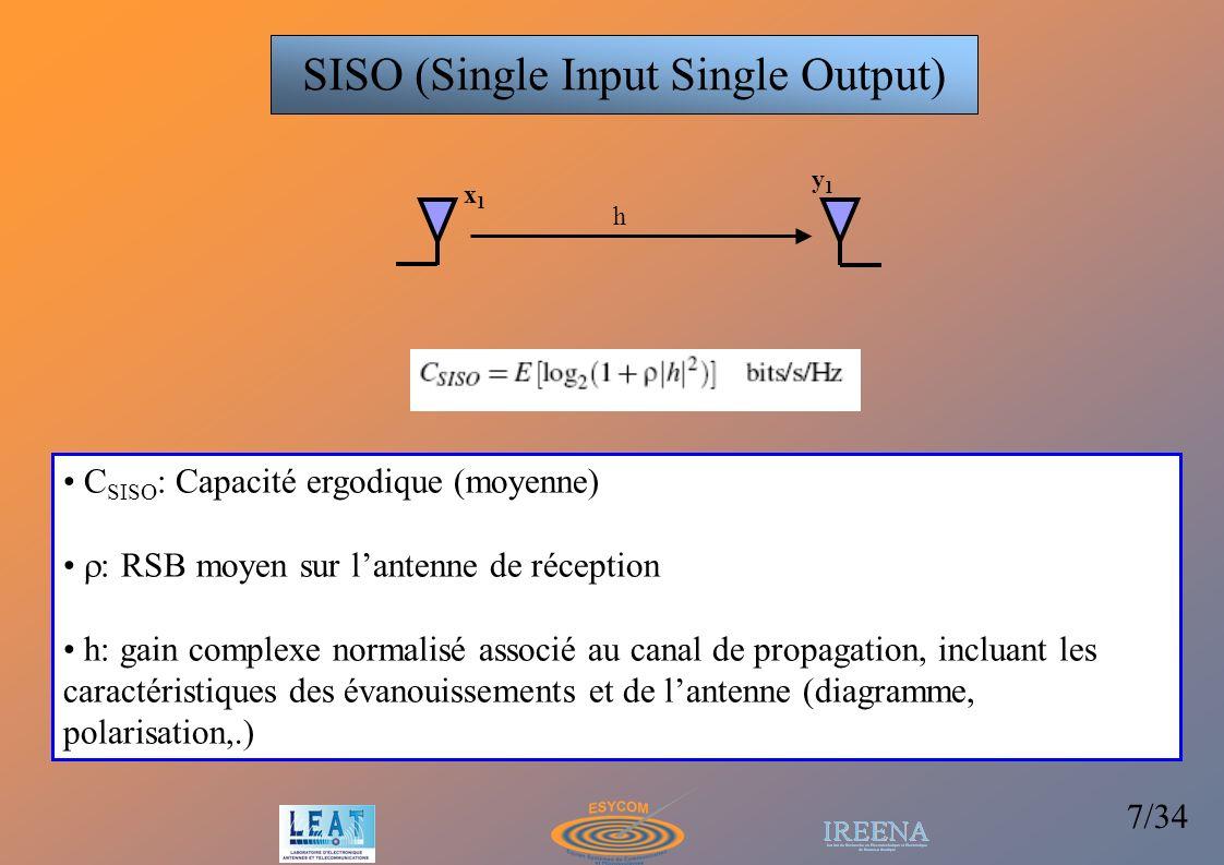 8/34 Sélection du signal au plus fort RSB Recombinaison des signaux (EG, MRC…) RX SIMO (Single Input Multiple Output) Diversité simple x1x1 y1y1 y2y2 yMyM h1h1 h2h2 hMhM Augmentation du RSB : meilleure robustesse de la liaison, possibilité de forts taux de modulation,… La capacité du système augmente comme le logarithme de M h=[h 1, h 2,…, h M ]