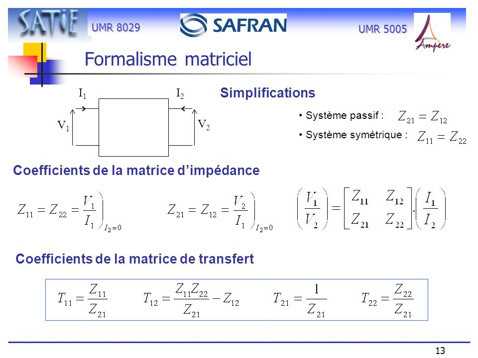 UMR 8029 13 UMR 5005 Coefficients de la matrice de transfert Coefficients de la matrice dimpédance Simplifications Système passif : Système symétrique