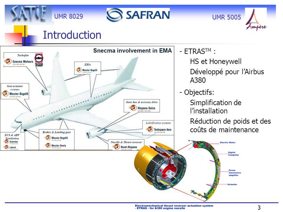 UMR 8029 3 UMR 5005 Introduction - ETRAS TM : HS et Honeywell Développé pour lAirbus A380 - Objectifs: Simplification de linstallation Réduction de po