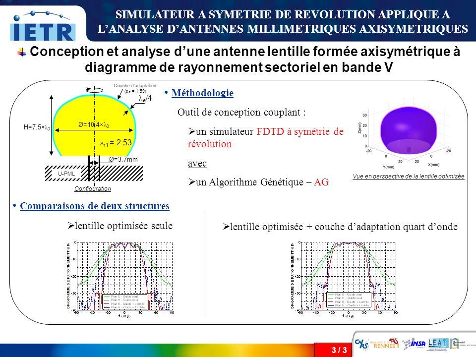 3 / 3 Conception et analyse dune antenne lentille formée axisymétrique à diagramme de rayonnement sectoriel en bande V SIMULATEUR A SYMETRIE DE REVOLU