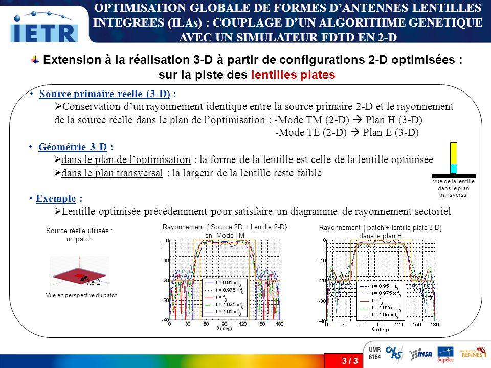 3 / 3 Extension à la réalisation 3-D à partir de configurations 2-D optimisées : sur la piste des lentilles plates OPTIMISATION GLOBALE DE FORMES DANT