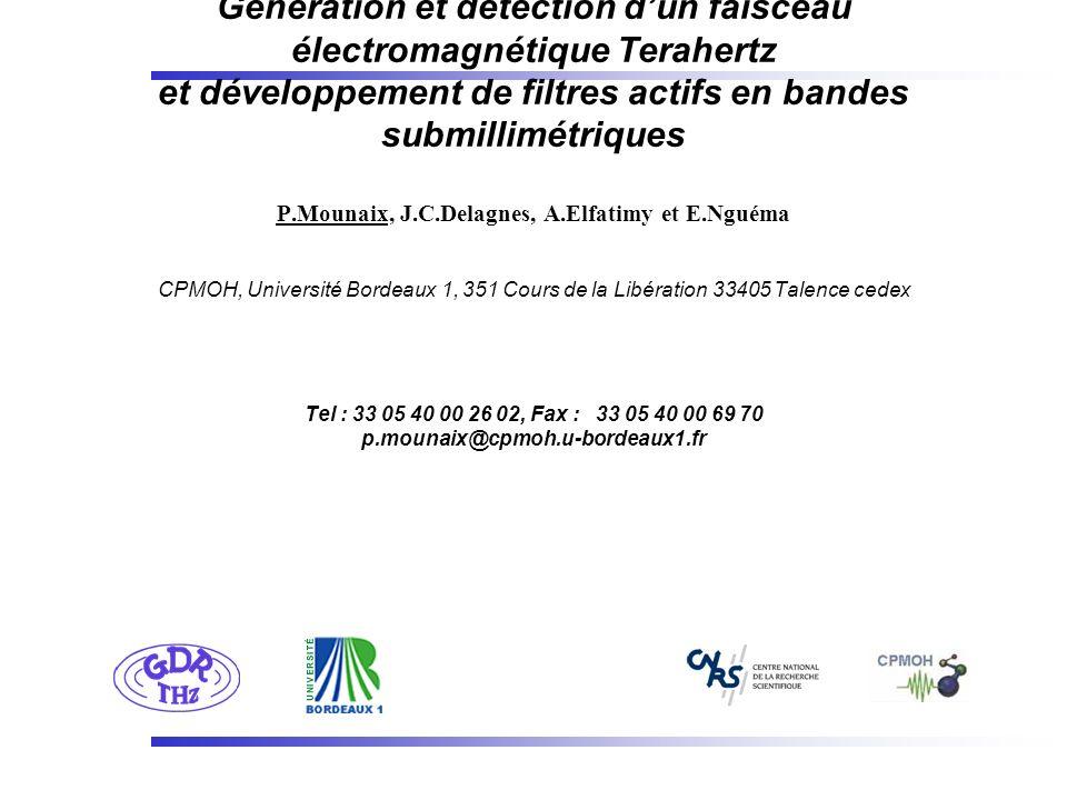 Génération et détection dun faisceau électromagnétique Terahertz et développement de filtres actifs en bandes submillimétriques P.Mounaix, J.C.Delagne