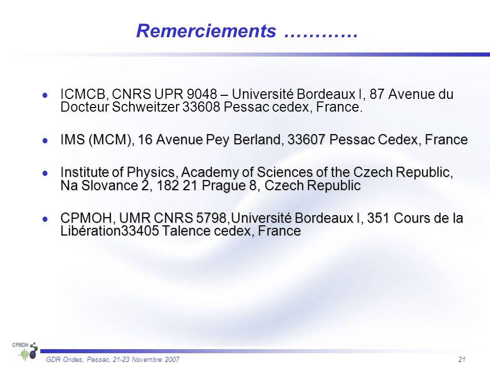 21 GDR Ondes, Pessac, 21-23 Novembre 2007 Remerciements ………… ICMCB, CNRS UPR 9048 – Université Bordeaux I, 87 Avenue du Docteur Schweitzer 33608 Pessa