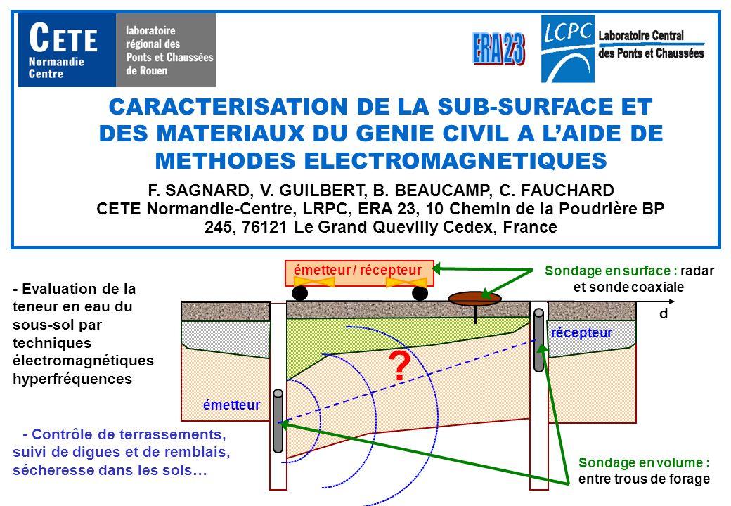 CARACTERISATION DE LA SUB-SURFACE ET DES MATERIAUX DU GENIE CIVIL A LAIDE DE METHODES ELECTROMAGNETIQUES F. SAGNARD, V. GUILBERT, B. BEAUCAMP, C. FAUC