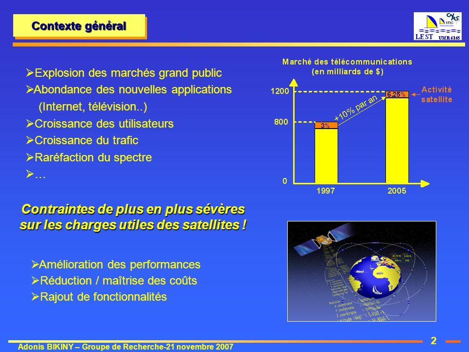 2 Adonis BIKINY – Groupe de Recherche-21 novembre 2007 Amélioration des performances Réduction / maîtrise des coûts Rajout de fonctionnalités Contexte