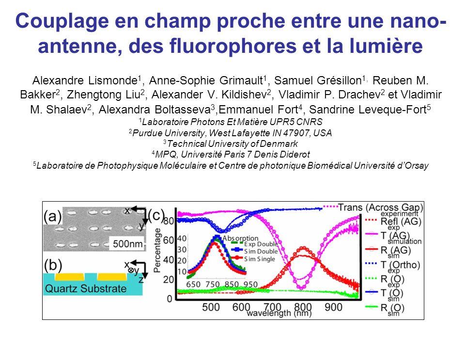 Influence des nano-antennes sur lexaltation de fluorescence Journées Plasmonique en Biologie et Médecine Vendredi 14 Décembre 2007, ESPCI, Paris http://gdr2588.ibl.fr/plasmon/ Exaltation de la fluorescence de la Rhodamine par des nano-antennes en or.