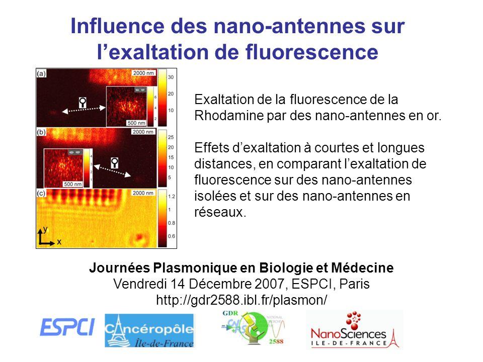 Influence des nano-antennes sur lexaltation de fluorescence Journées Plasmonique en Biologie et Médecine Vendredi 14 Décembre 2007, ESPCI, Paris http: