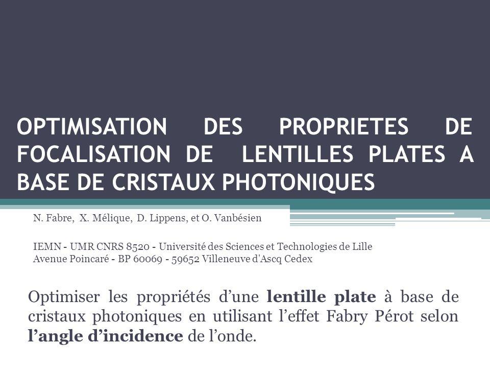 OPTIMISATION DES PROPRIETES DE FOCALISATION DE LENTILLES PLATES A BASE DE CRISTAUX PHOTONIQUES N.