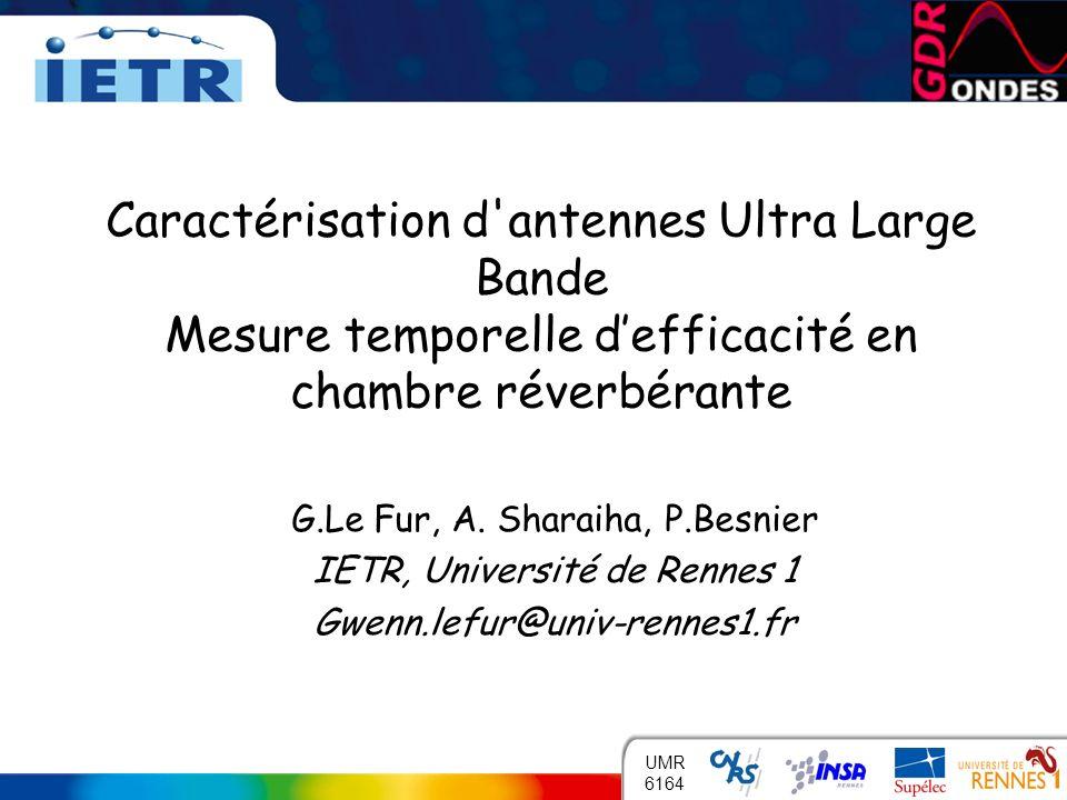 INSTITUT DÉLECTRONIQUE ET DE TÉLÉCOMMUNICATIONS DE RENNES 1 UMR 6164 G.Le Fur, A. Sharaiha, P.Besnier IETR, Université de Rennes 1 Gwenn.lefur@univ-re
