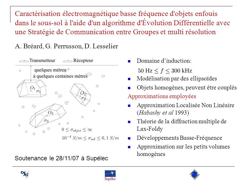 Caractérisation électromagnétique basse fréquence d'objets enfouis dans le sous-sol à l'aide d'un algorithme d'Évolution Différentielle avec une Strat