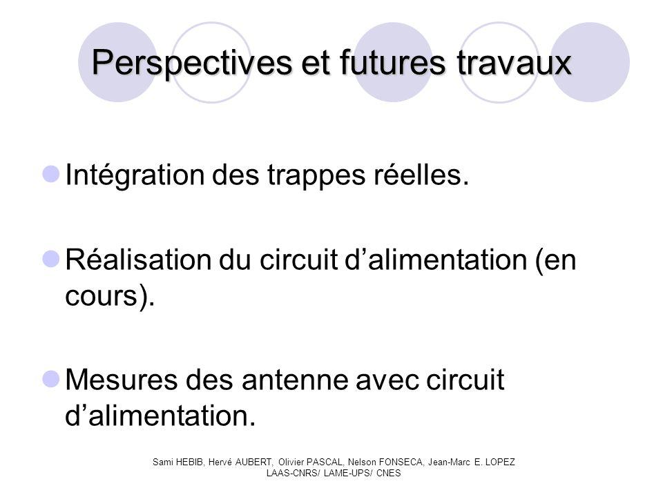 Perspectives et futures travaux Intégration des trappes réelles.