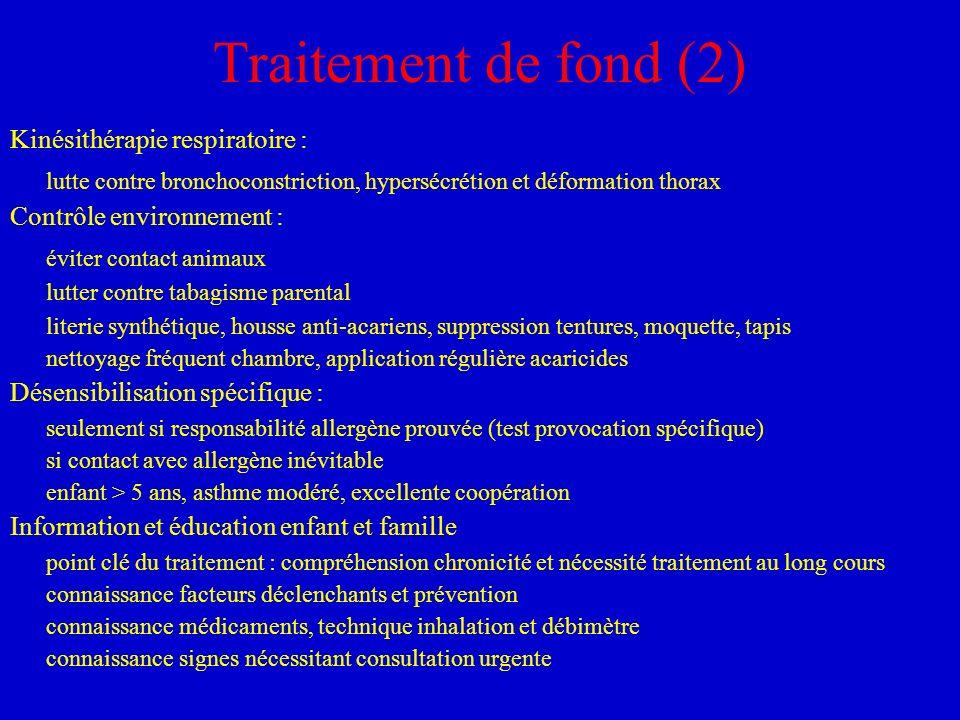 Traitement de fond (2) Kinésithérapie respiratoire : lutte contre bronchoconstriction, hypersécrétion et déformation thorax Contrôle environnement : é