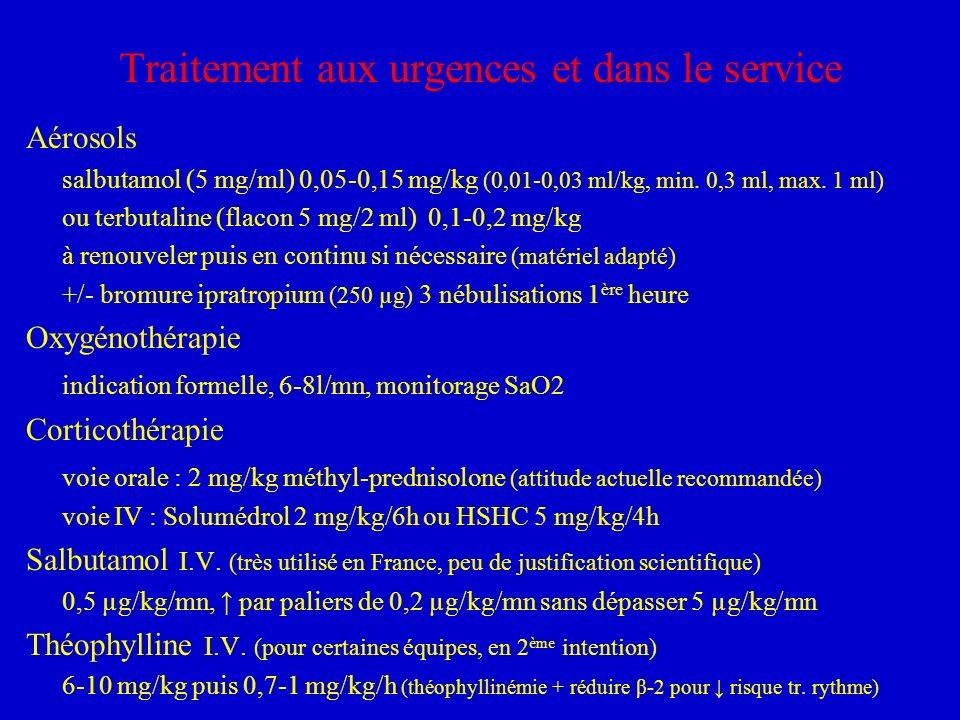 Traitement aux urgences et dans le service Aérosols salbutamol (5 mg/ml) 0,05-0,15 mg/kg (0,01-0,03 ml/kg, min. 0,3 ml, max. 1 ml) ou terbutaline (fla