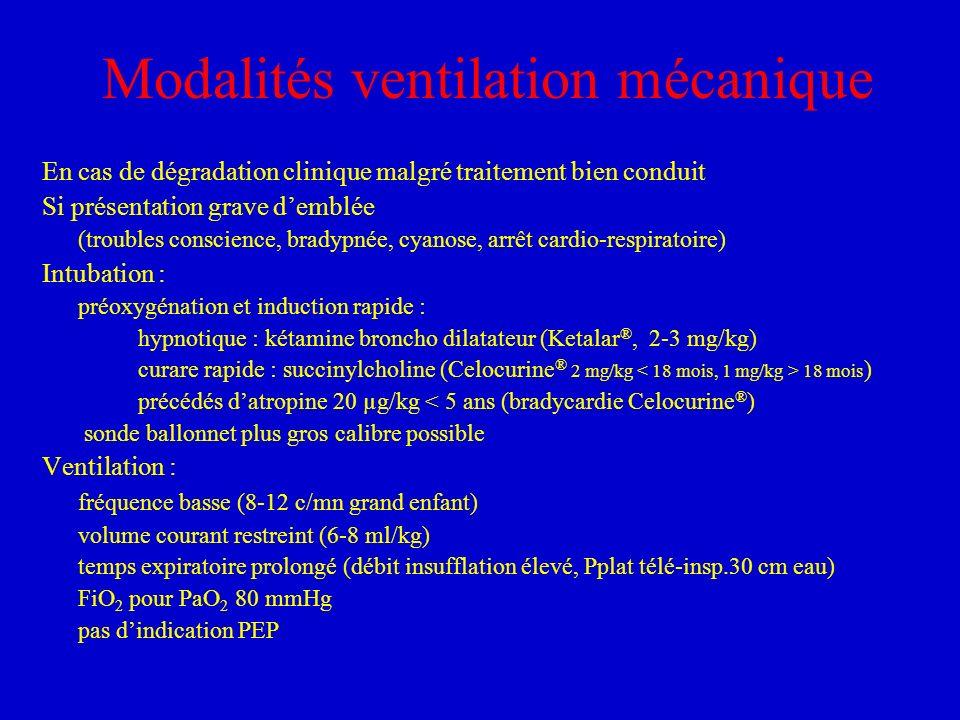 Modalités ventilation mécanique En cas de dégradation clinique malgré traitement bien conduit Si présentation grave demblée (troubles conscience, brad