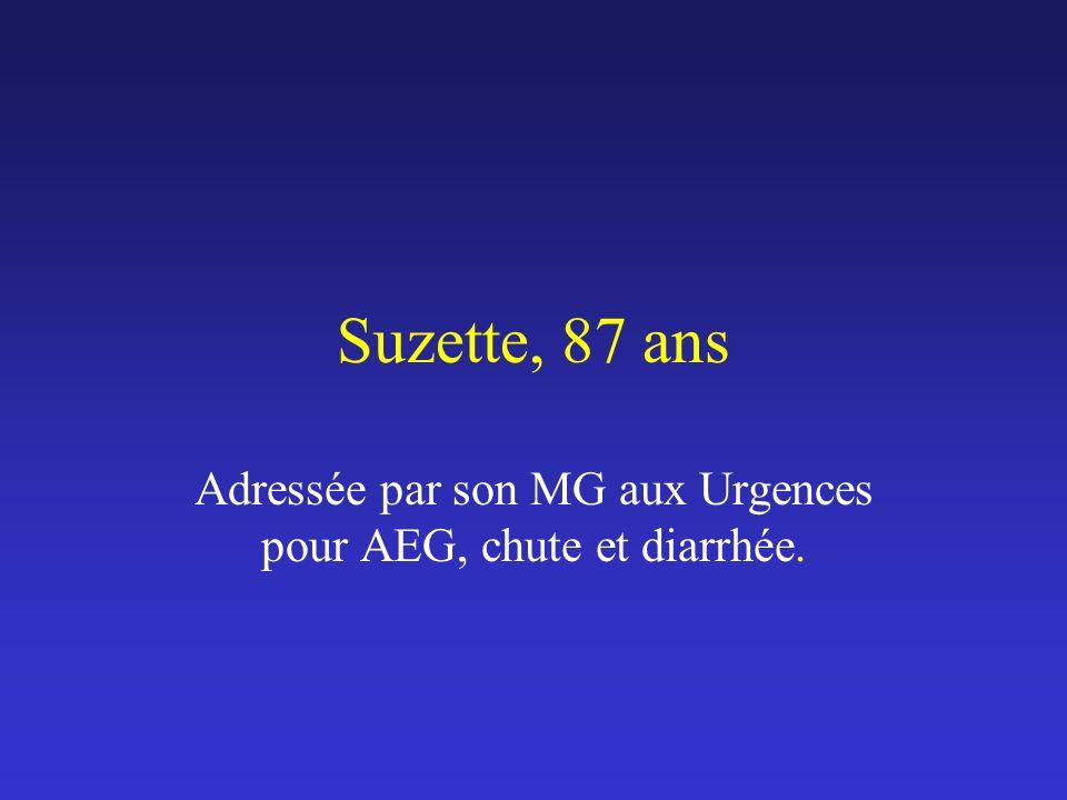 Suzette, 87 ans Adressée par son MG aux Urgences pour AEG, chute et diarrhée.